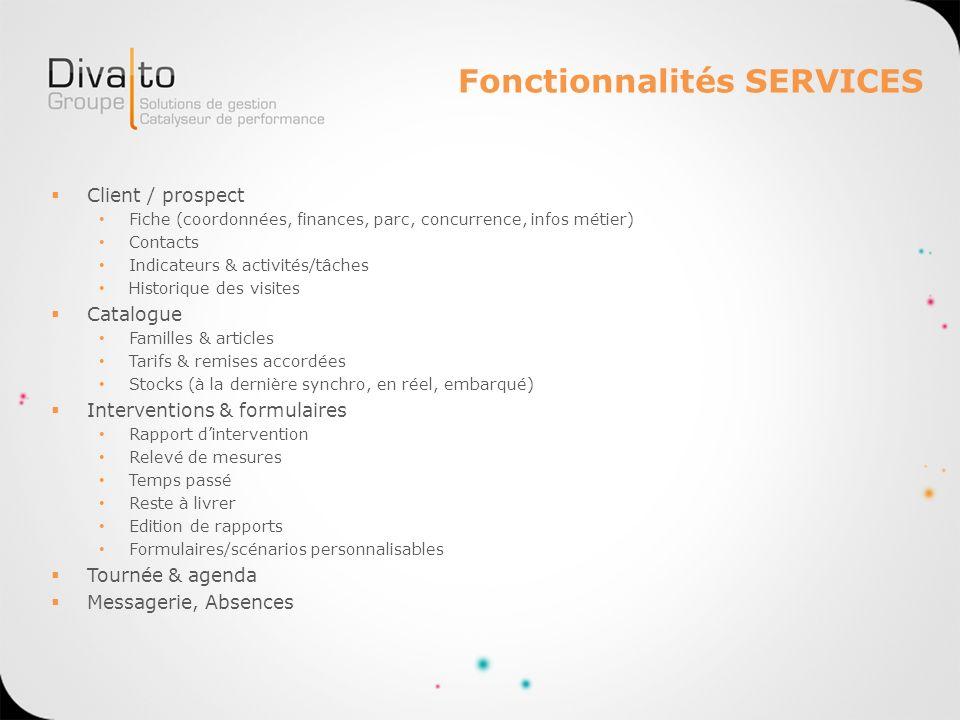 Fonctionnalités SERVICES