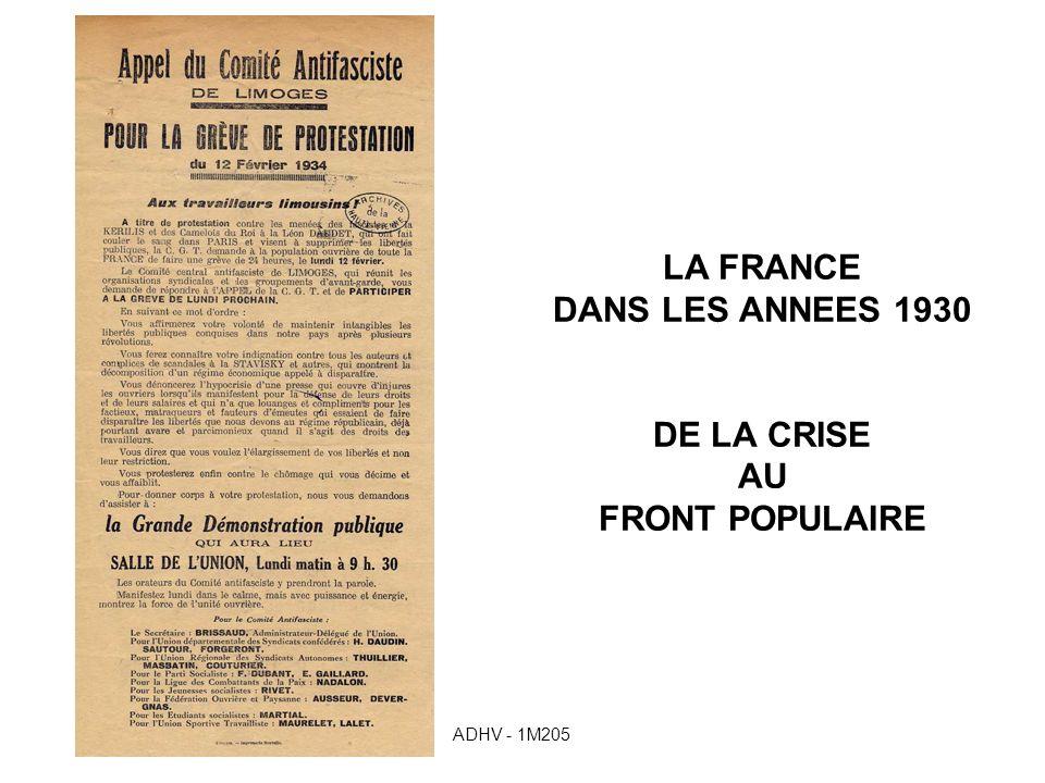 LA FRANCE DANS LES ANNEES 1930 DE LA CRISE AU FRONT POPULAIRE