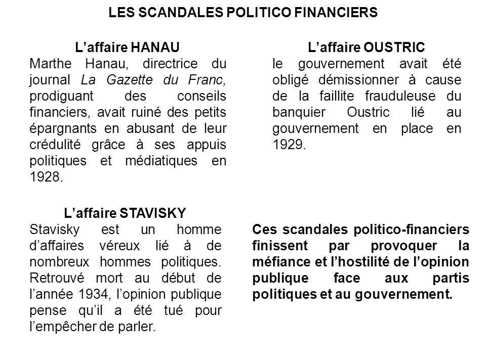 LES SCANDALES POLITICO FINANCIERS