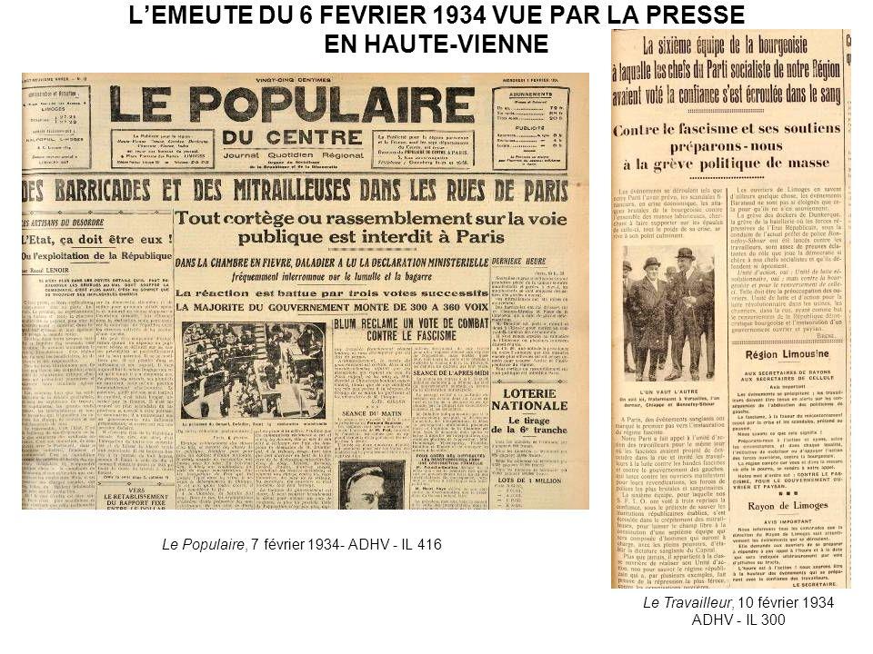 L'EMEUTE DU 6 FEVRIER 1934 VUE PAR LA PRESSE EN HAUTE-VIENNE