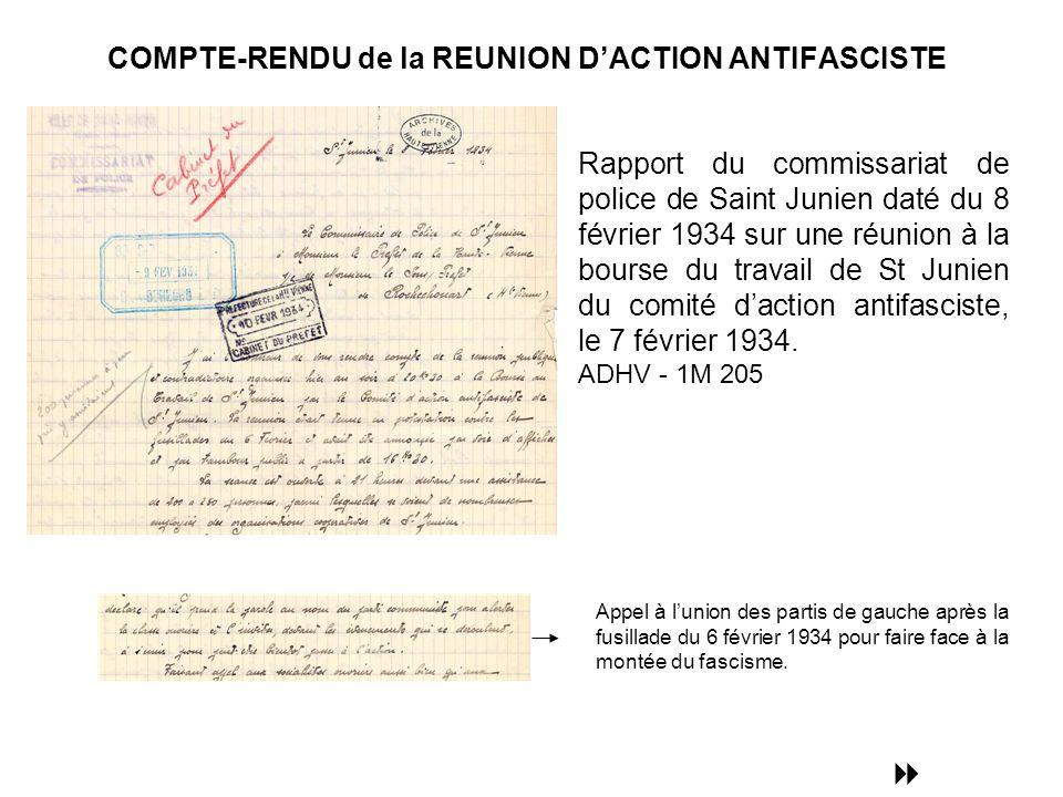 COMPTE-RENDU de la REUNION D'ACTION ANTIFASCISTE