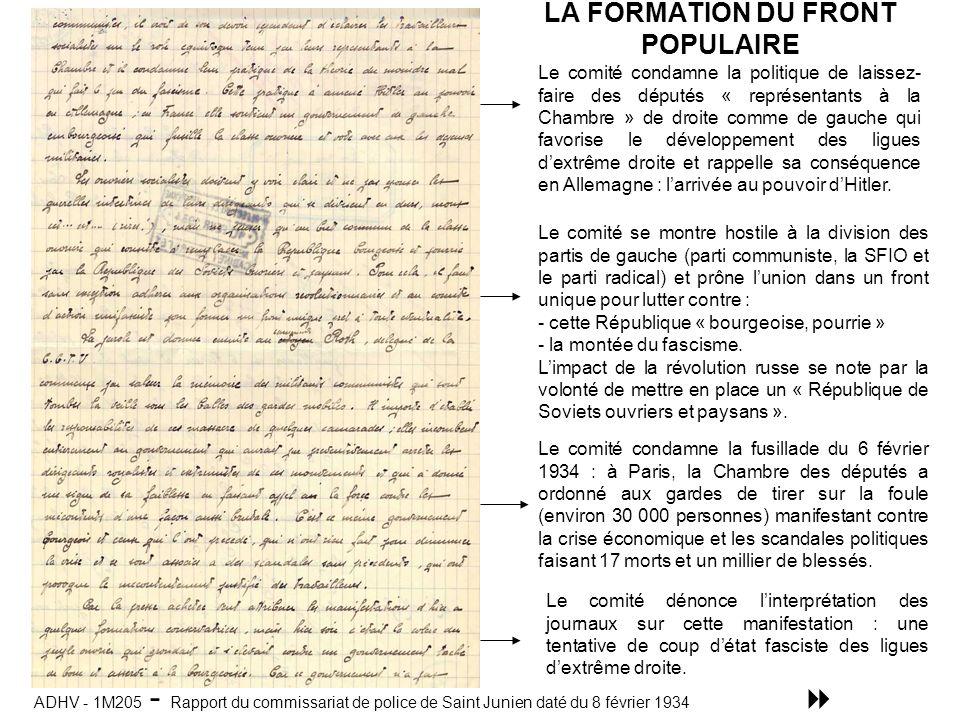 LA FORMATION DU FRONT POPULAIRE
