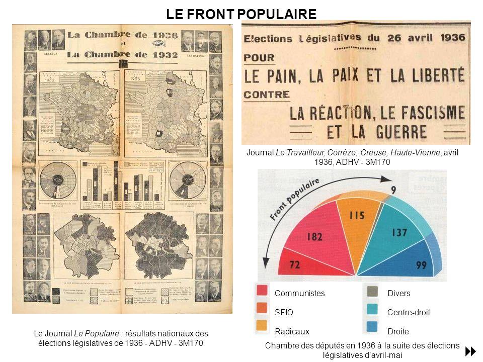 LE FRONT POPULAIRE Journal Le Travailleur, Corrèze, Creuse, Haute-Vienne, avril 1936, ADHV - 3M170.
