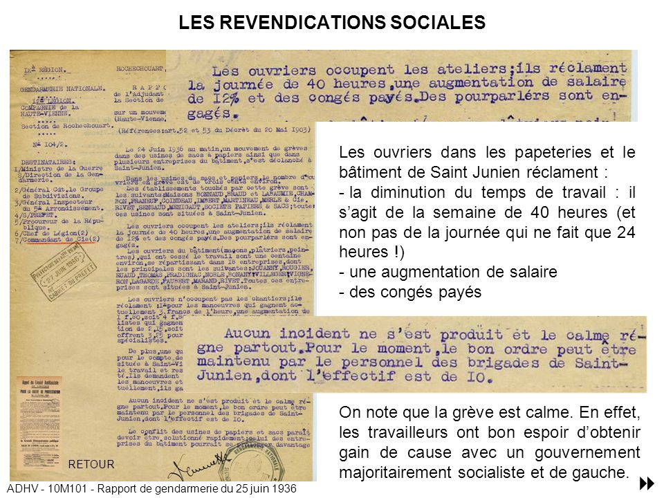 LES REVENDICATIONS SOCIALES