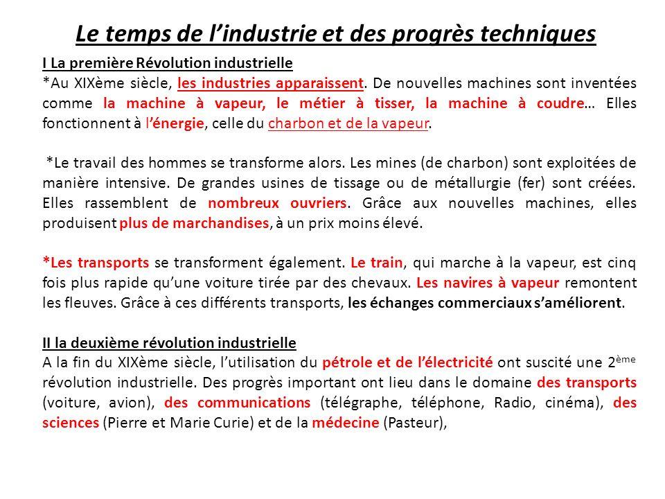 Le temps de l'industrie et des progrès techniques