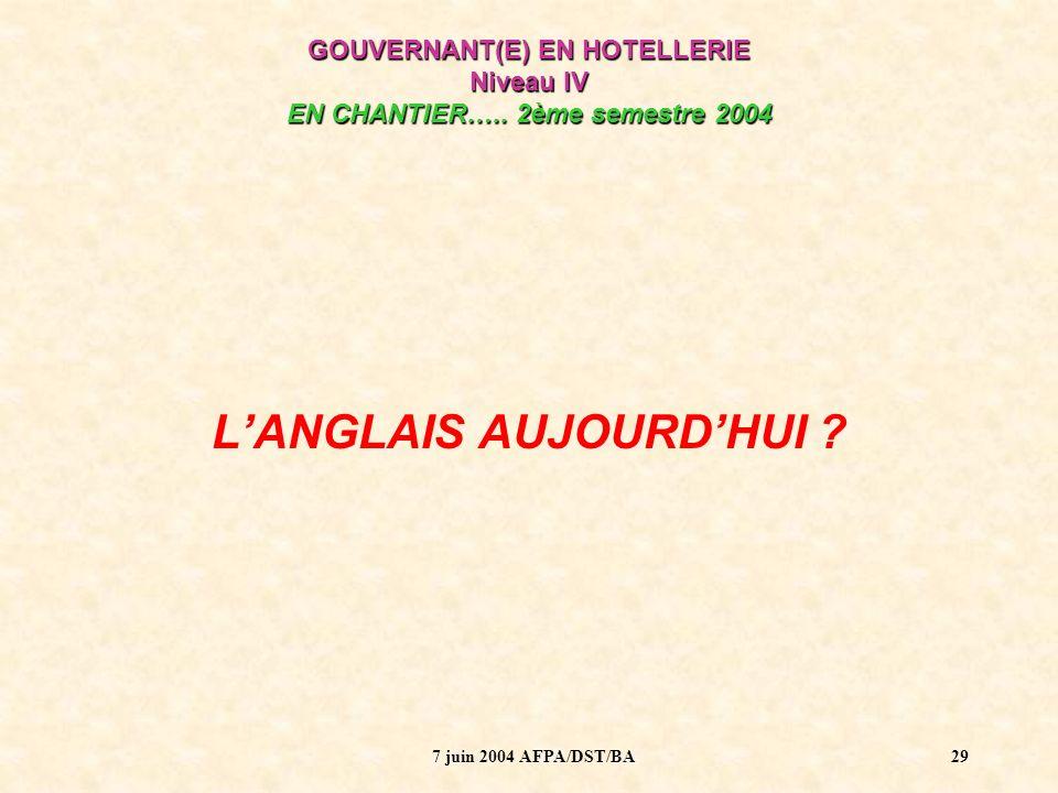 L'ANGLAIS AUJOURD'HUI