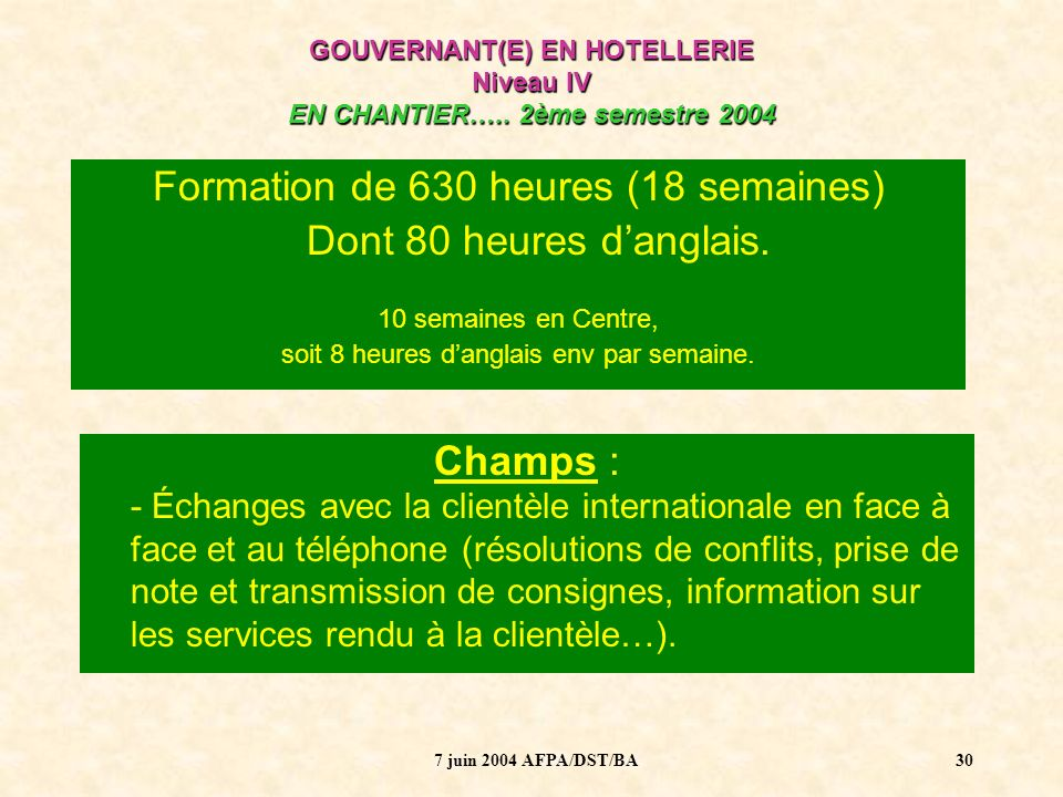 Formation de 630 heures (18 semaines)