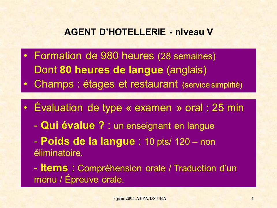 AGENT D'HOTELLERIE - niveau V