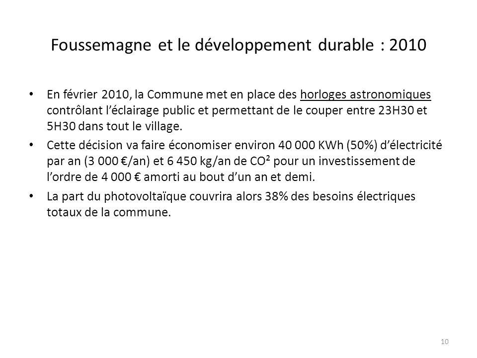 Foussemagne et le développement durable : 2010