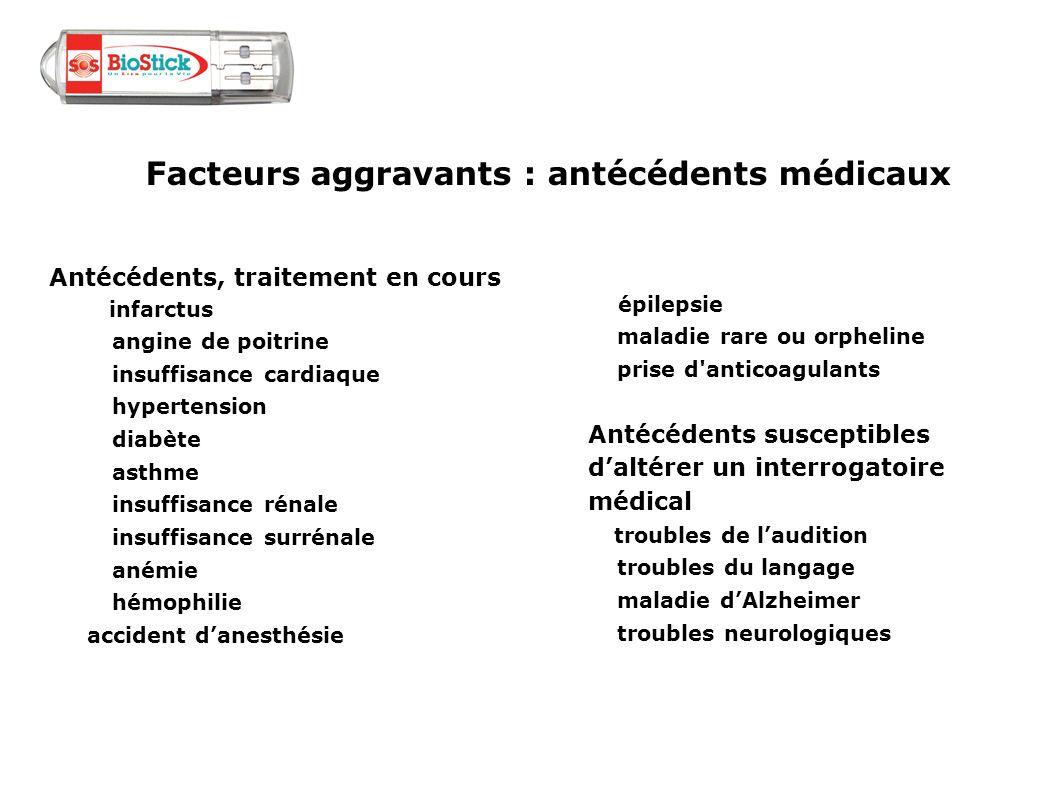 Facteurs aggravants : antécédents médicaux