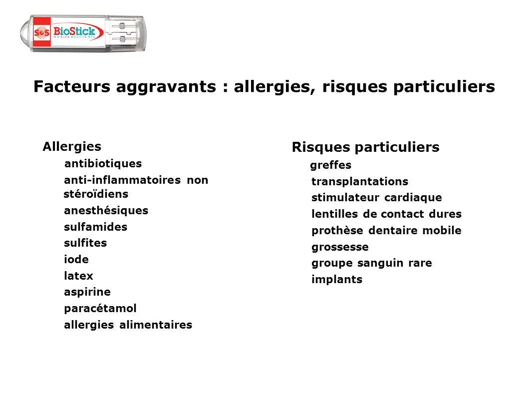 Facteurs aggravants : allergies, risques particuliers