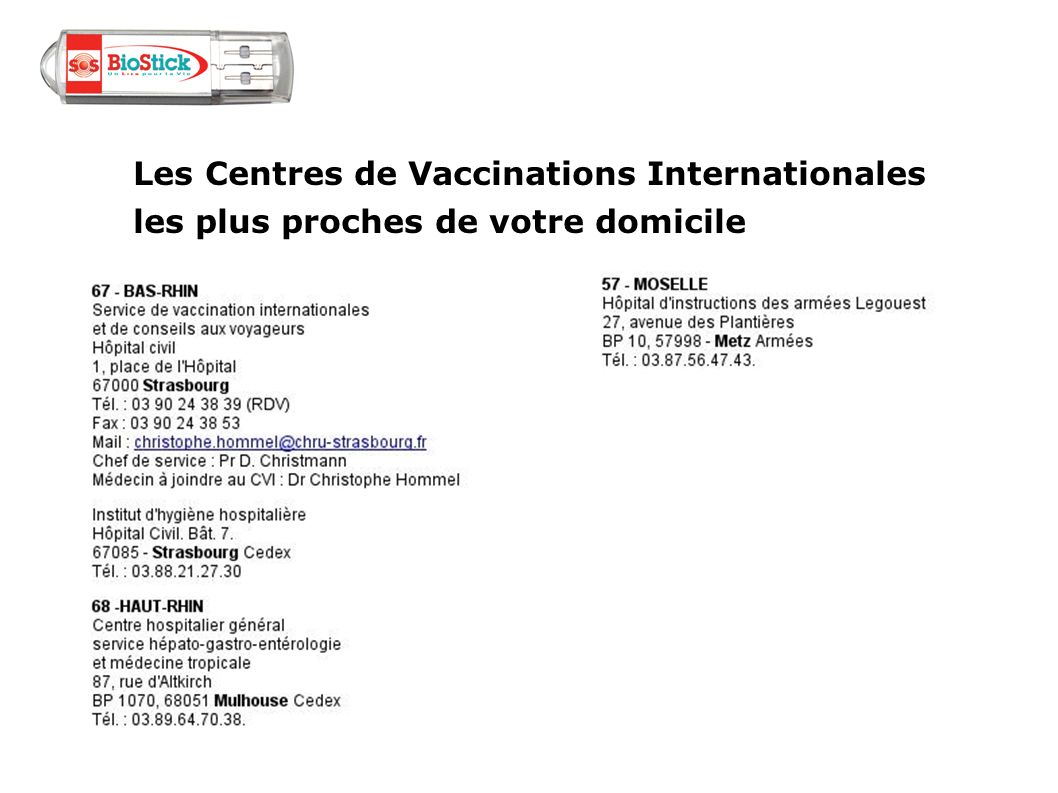 Les Centres de Vaccinations Internationales