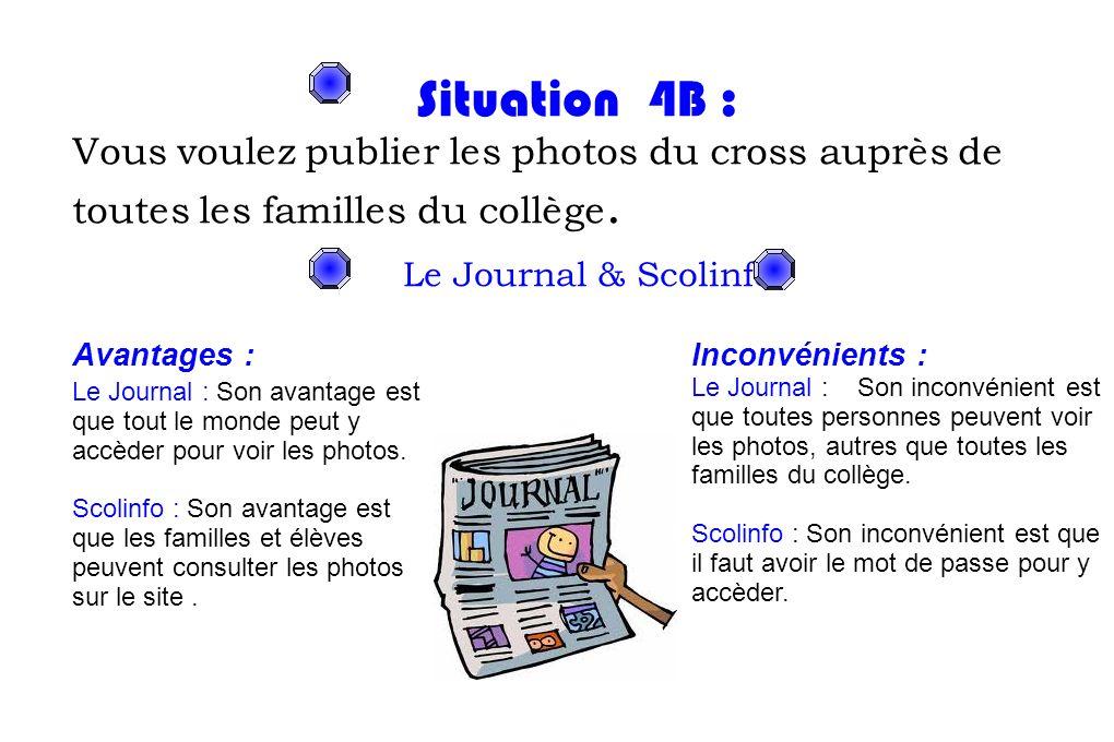 Situation 4B : Vous voulez publier les photos du cross auprès de toutes les familles du collège. Le Journal & Scolinfo.
