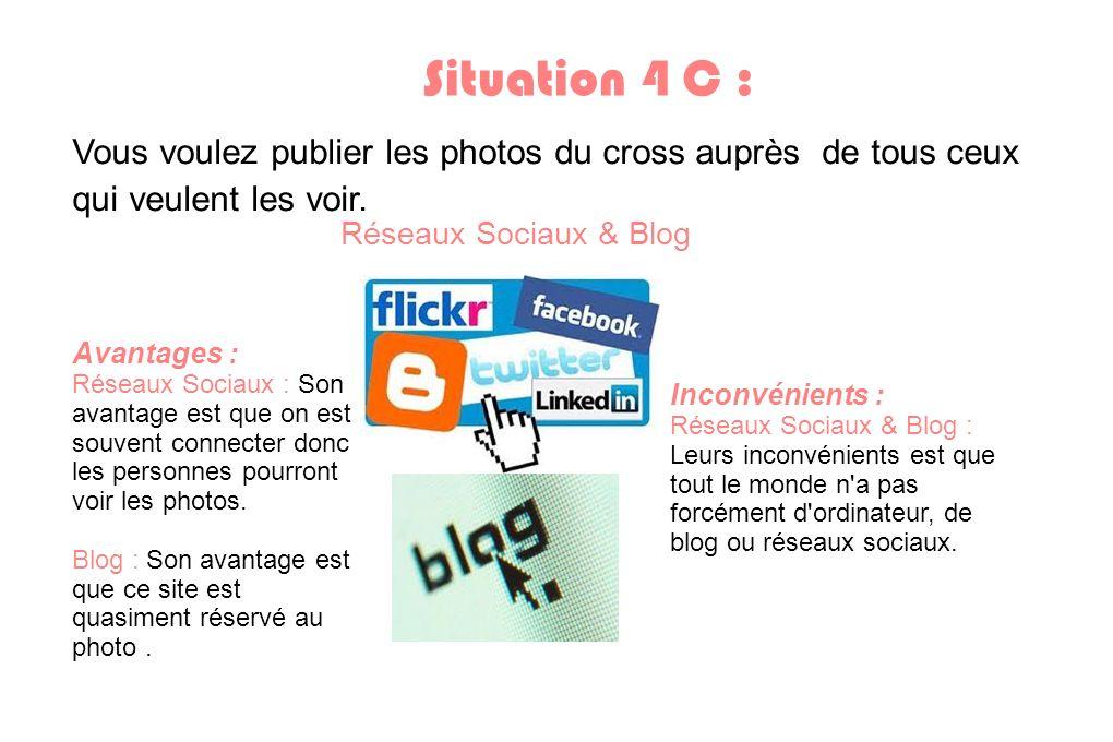 Situation 4 C : Vous voulez publier les photos du cross auprès de tous ceux qui veulent les voir. Réseaux Sociaux & Blog.