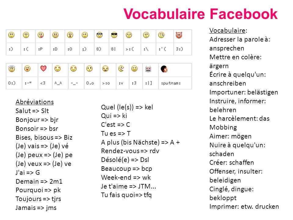 Vocabulaire Facebook Vocabulaire: Adresser la parole à: ansprechen