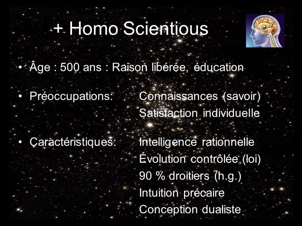 + Homo Scientious Âge : 500 ans : Raison libérée, éducation