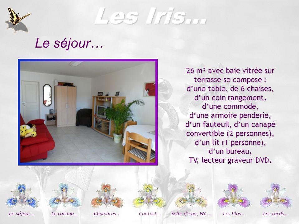 Les Iris… Le séjour… 26 m² avec baie vitrée sur terrasse se compose :