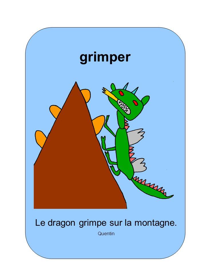 Le dragon grimpe sur la montagne.