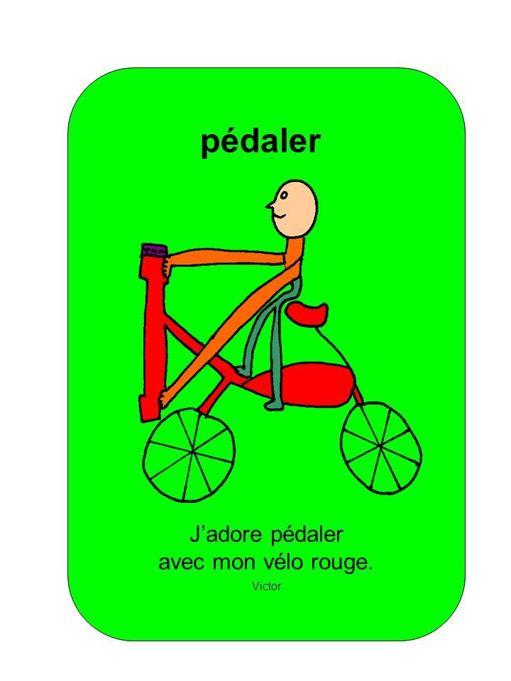 pédaler J'adore pédaler avec mon vélo rouge. Victor