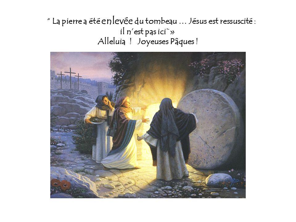 La pierre a été enlevée du tombeau … Jésus est ressuscité : il n'est pas ici`» Alleluia .