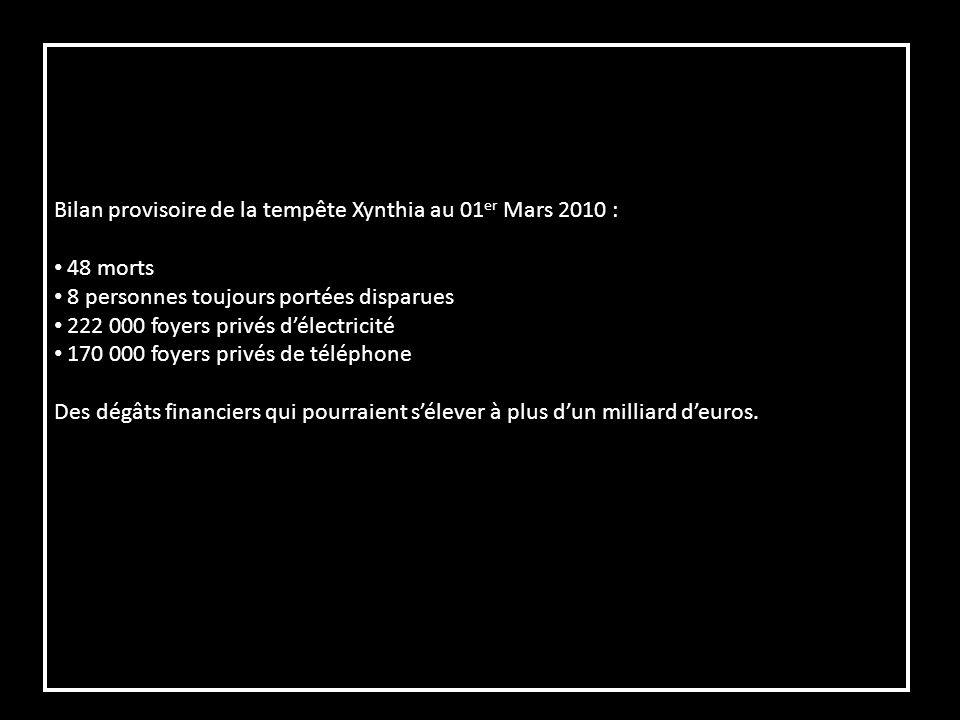 Bilan provisoire de la tempête Xynthia au 01er Mars 2010 :