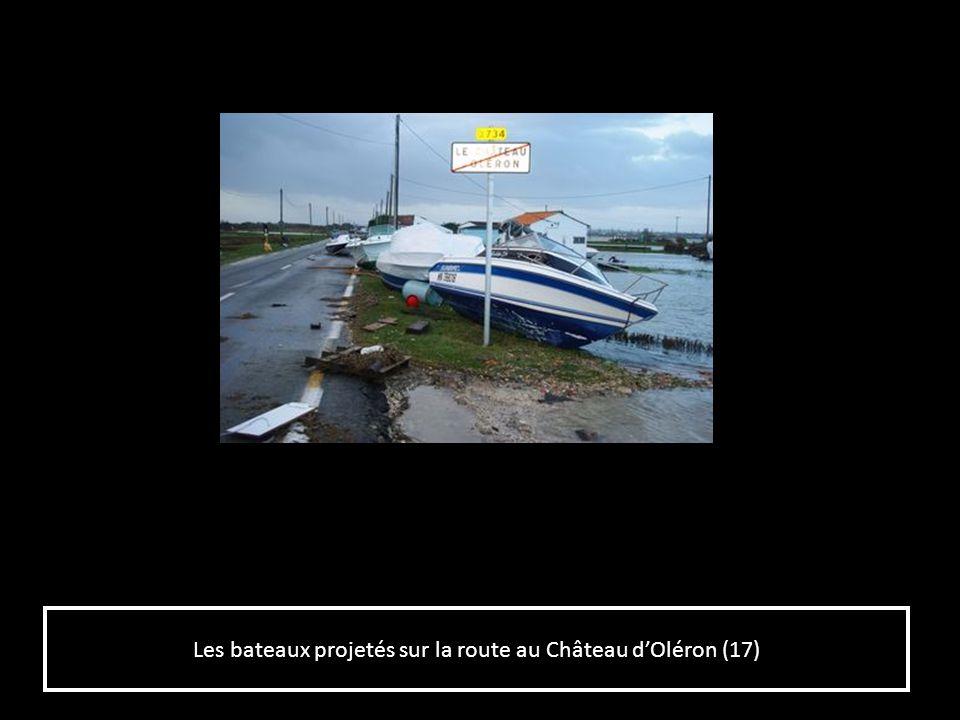 Les bateaux projetés sur la route au Château d'Oléron (17)
