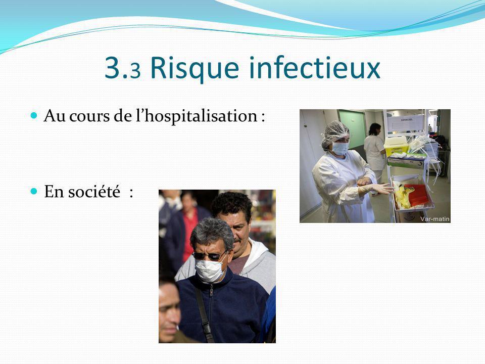3.3 Risque infectieux Au cours de l'hospitalisation : En société :