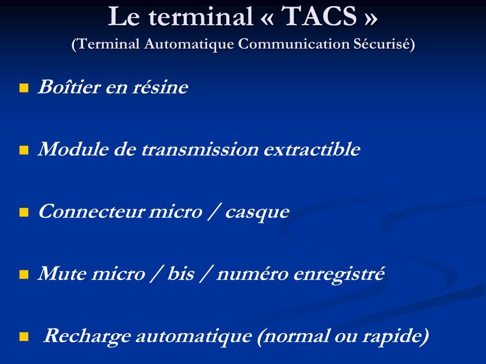 Le terminal « TACS » (Terminal Automatique Communication Sécurisé)