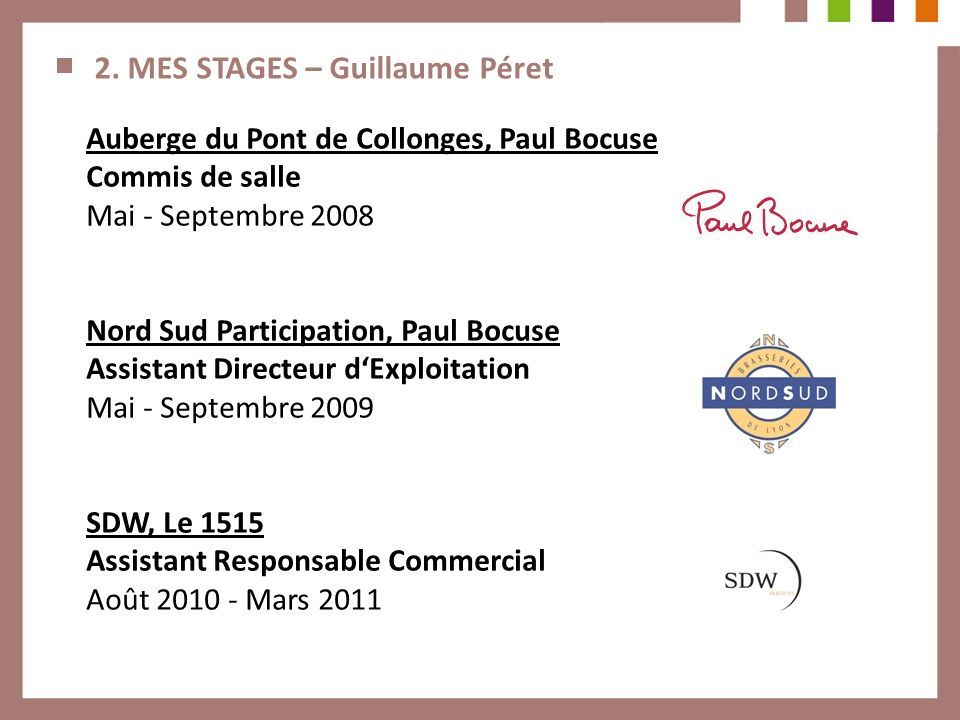 2. MES STAGES – Guillaume Péret