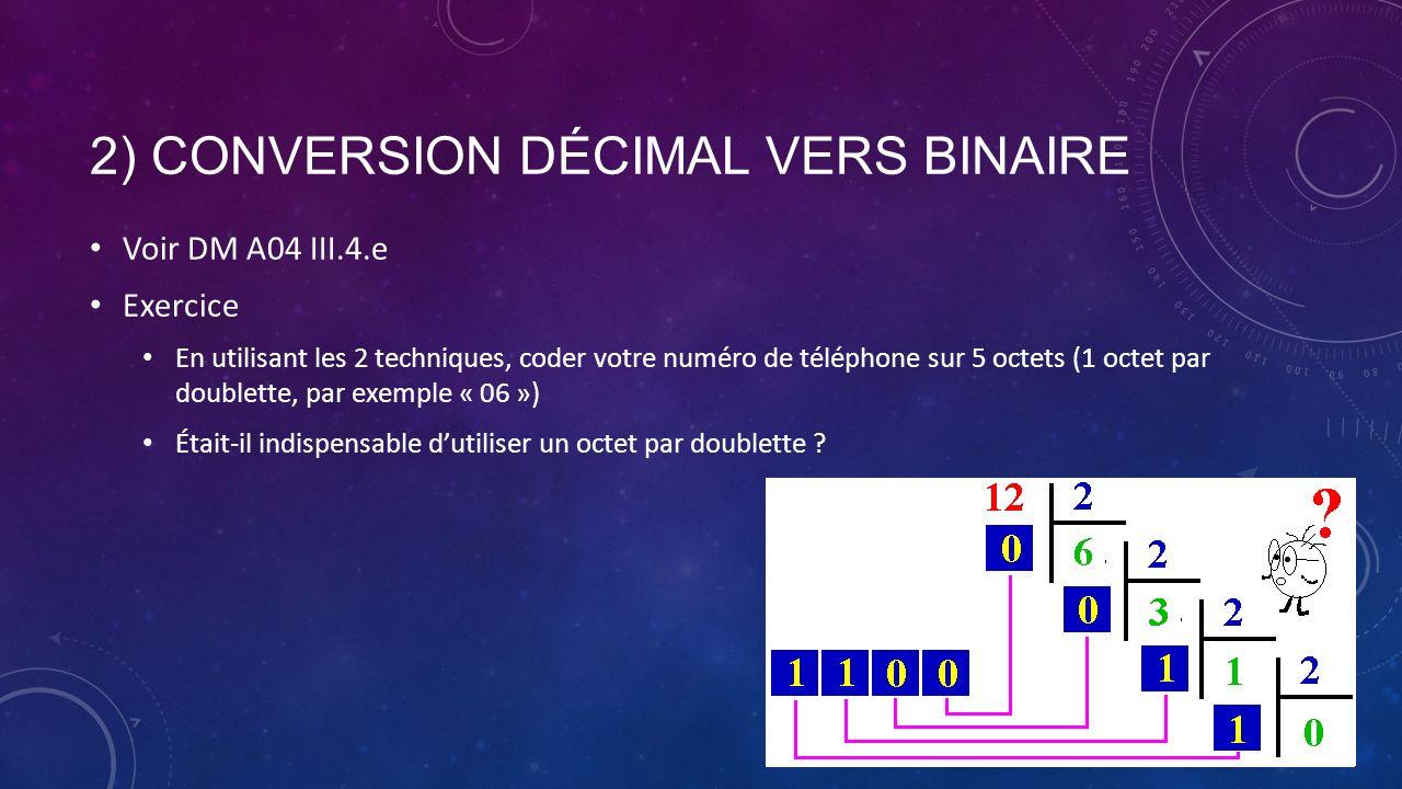 2) Conversion décimal vers binaire