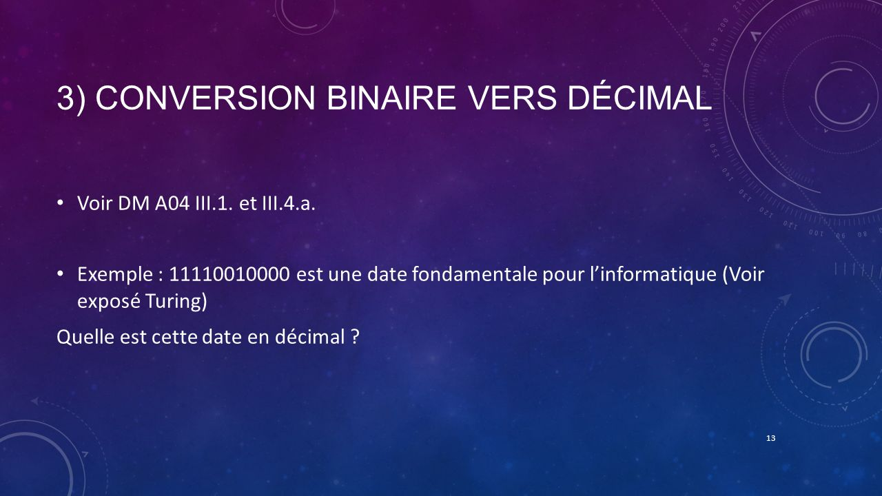 3) Conversion binaire vers décimal