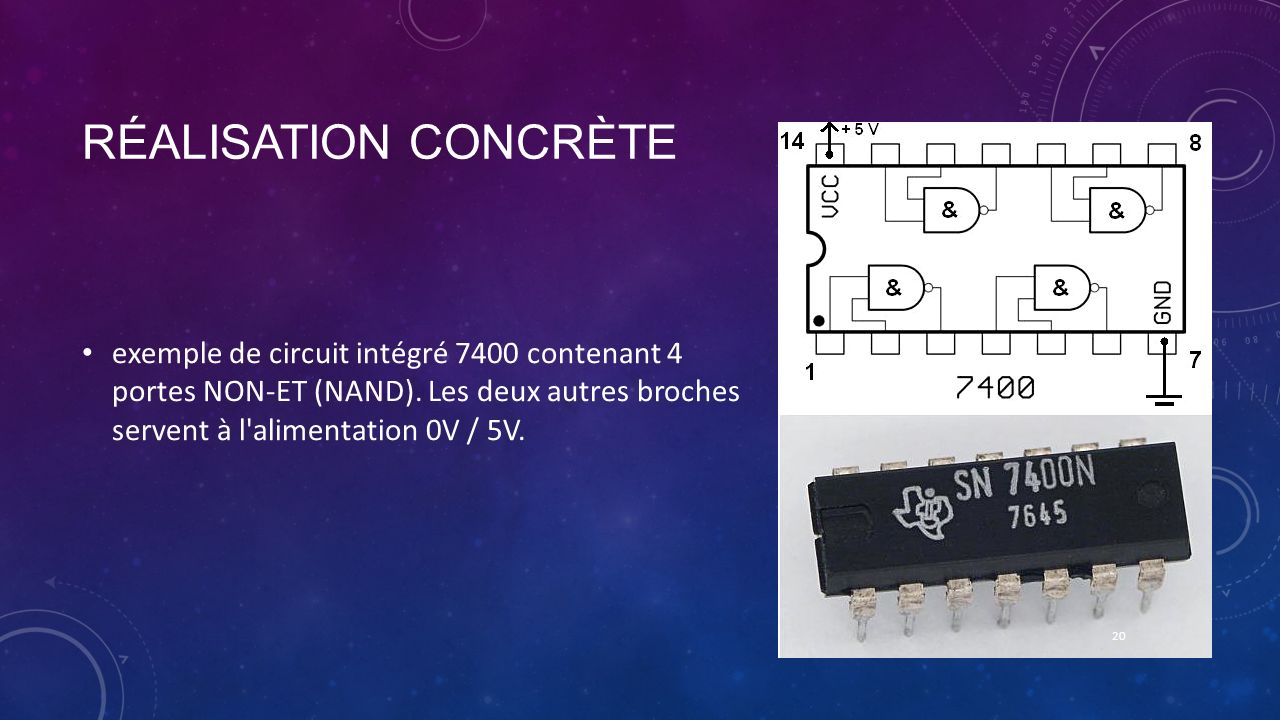 Réalisation concrète exemple de circuit intégré 7400 contenant 4 portes NON-ET (NAND).