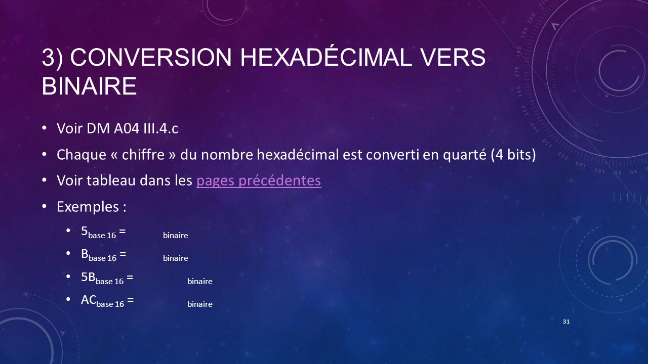 3) Conversion hexadécimal vers binaire