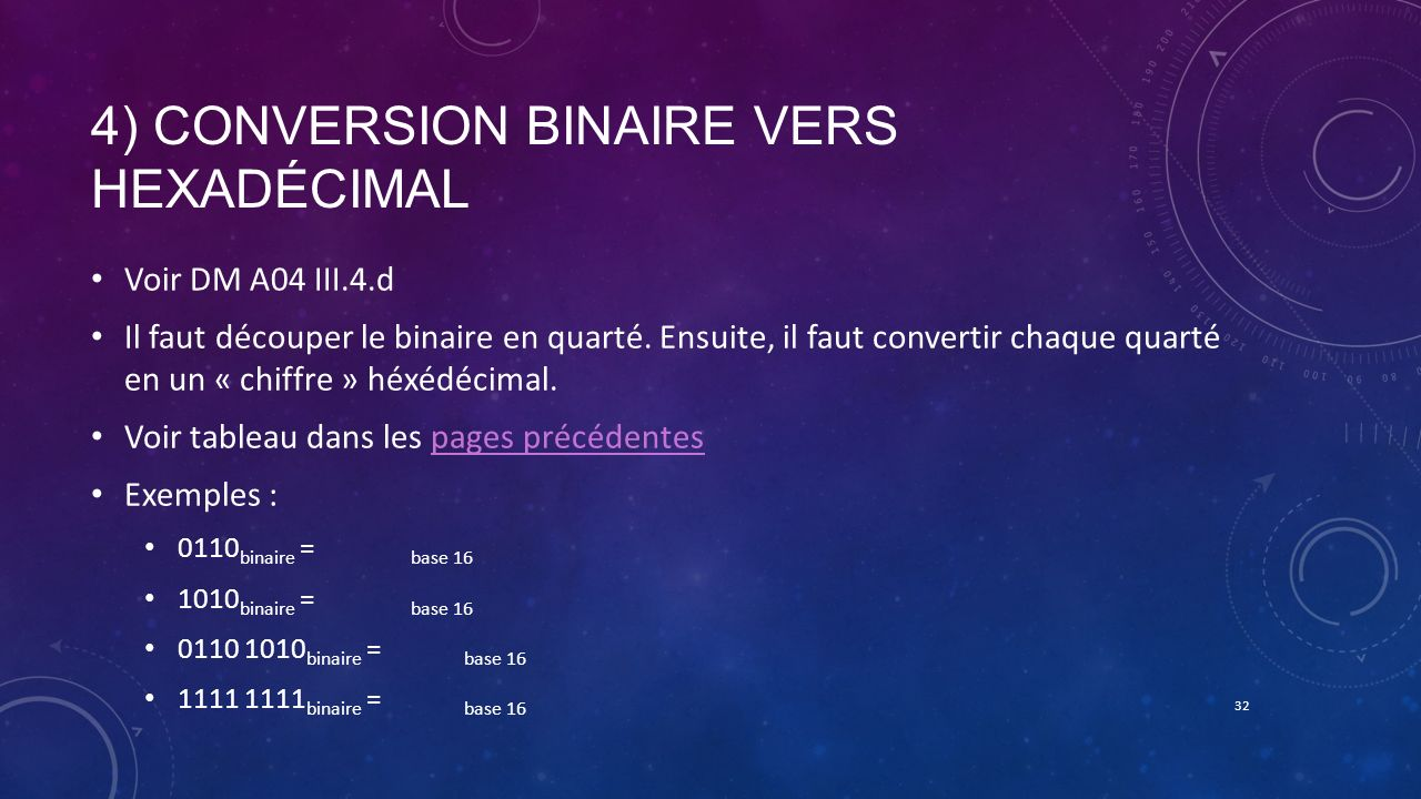 4) Conversion binaire vers hexadécimal