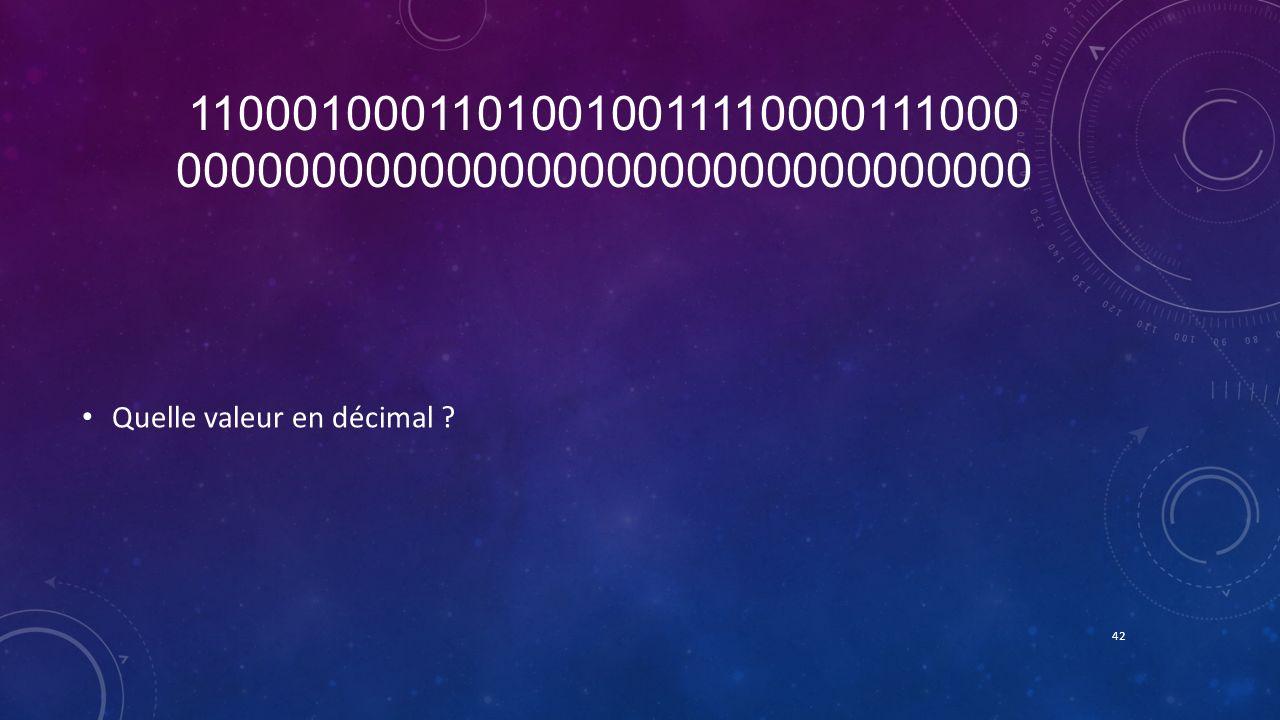 11000100011010010011110000111000 00000000000000000000000000000000 Quelle valeur en décimal