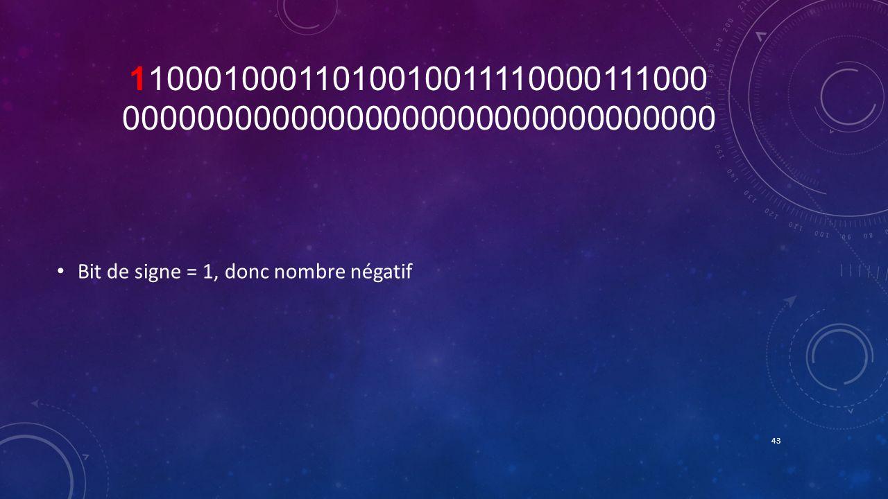 11000100011010010011110000111000 00000000000000000000000000000000 Bit de signe = 1, donc nombre négatif.