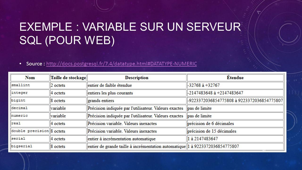 Exemple : variable sur un serveur sql (pour web)