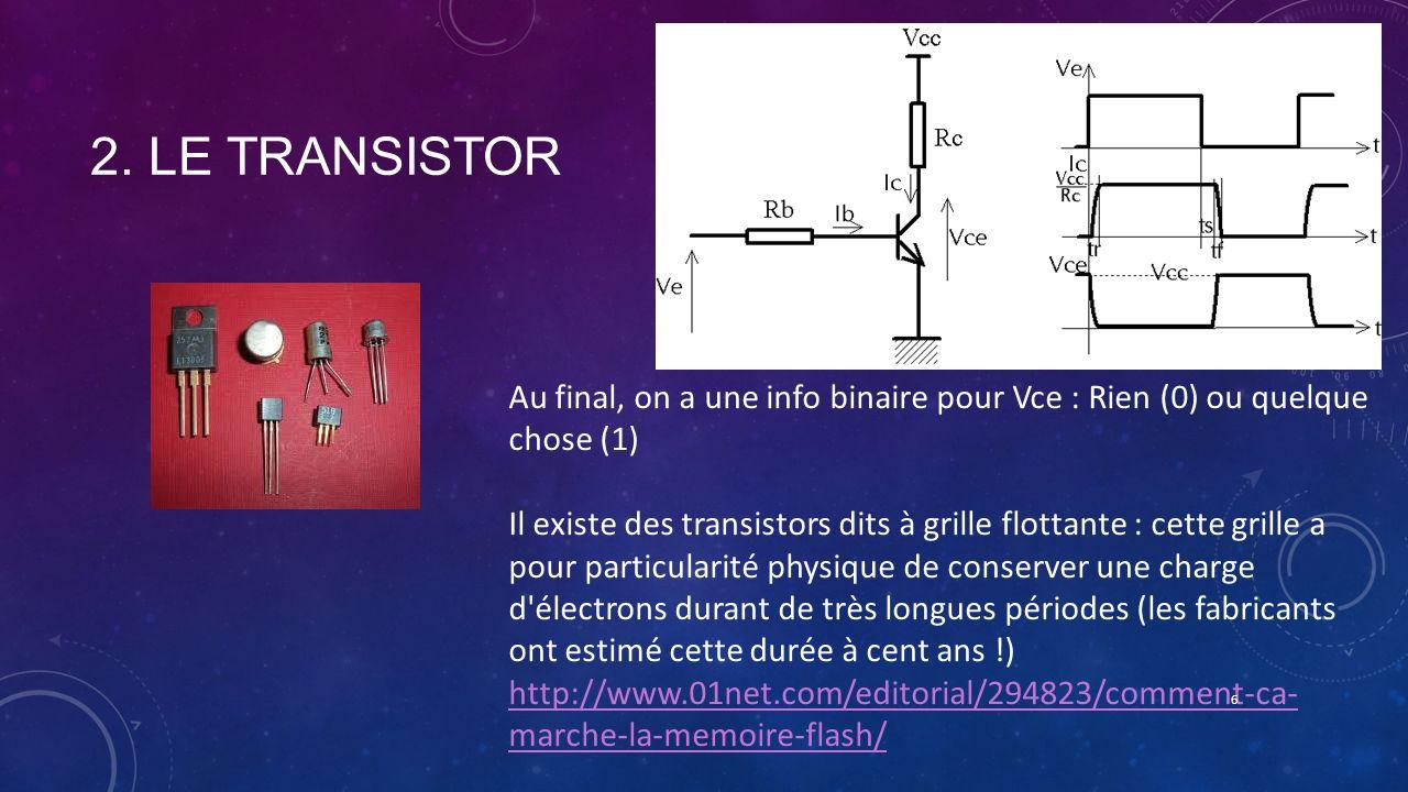 2. Le transistor Au final, on a une info binaire pour Vce : Rien (0) ou quelque chose (1)