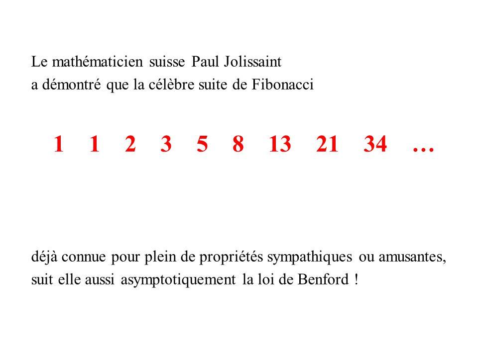1 1 2 3 5 8 13 21 34 … Le mathématicien suisse Paul Jolissaint