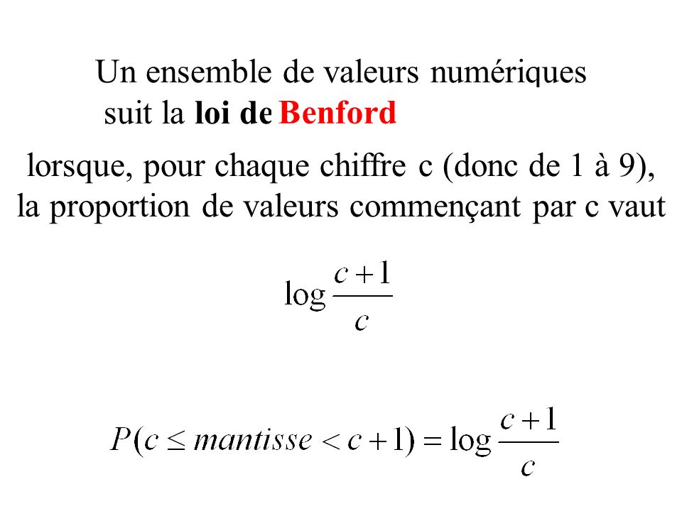 Un ensemble de valeurs numériques suit la loi des nombres anormaux