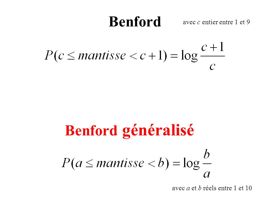 Benford Benford généralisé