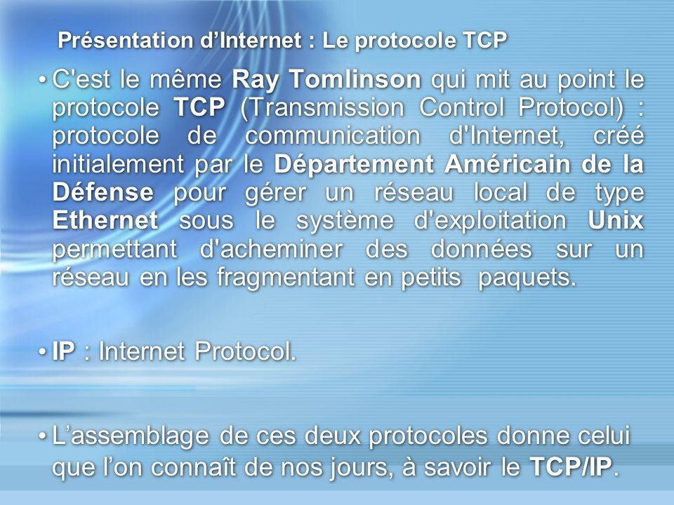 Présentation d'Internet : Le protocole TCP