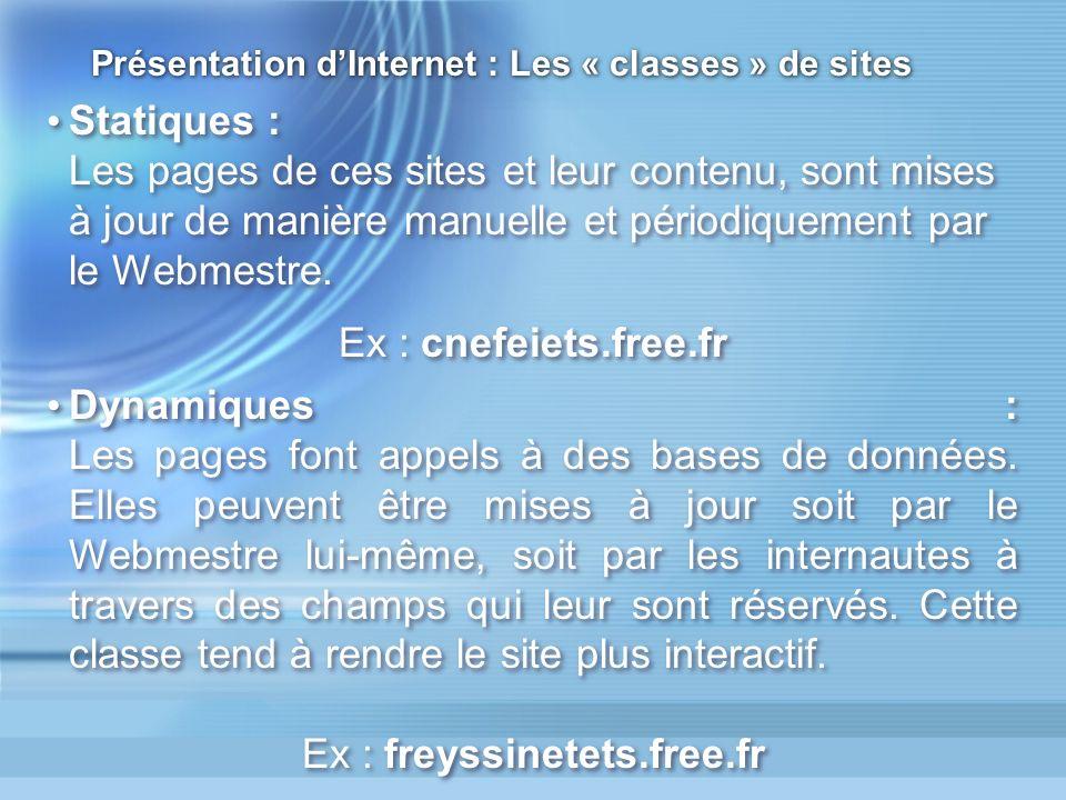 Présentation d'Internet : Les « classes » de sites