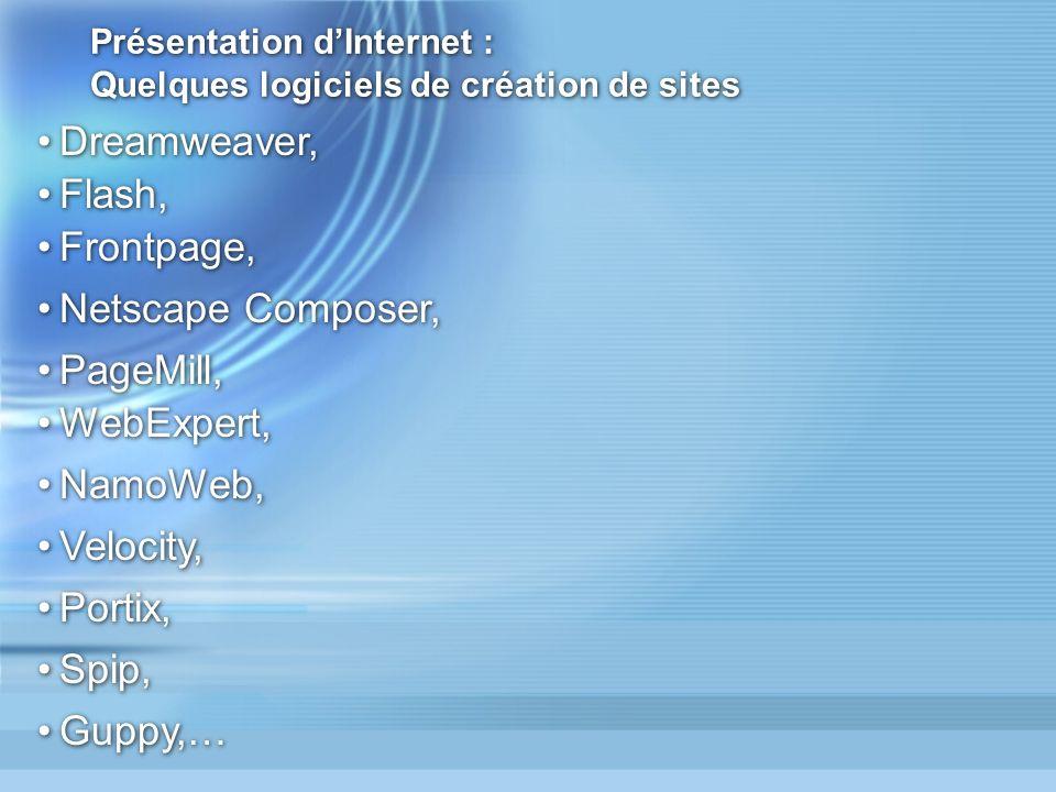 Présentation d'Internet : Quelques logiciels de création de sites
