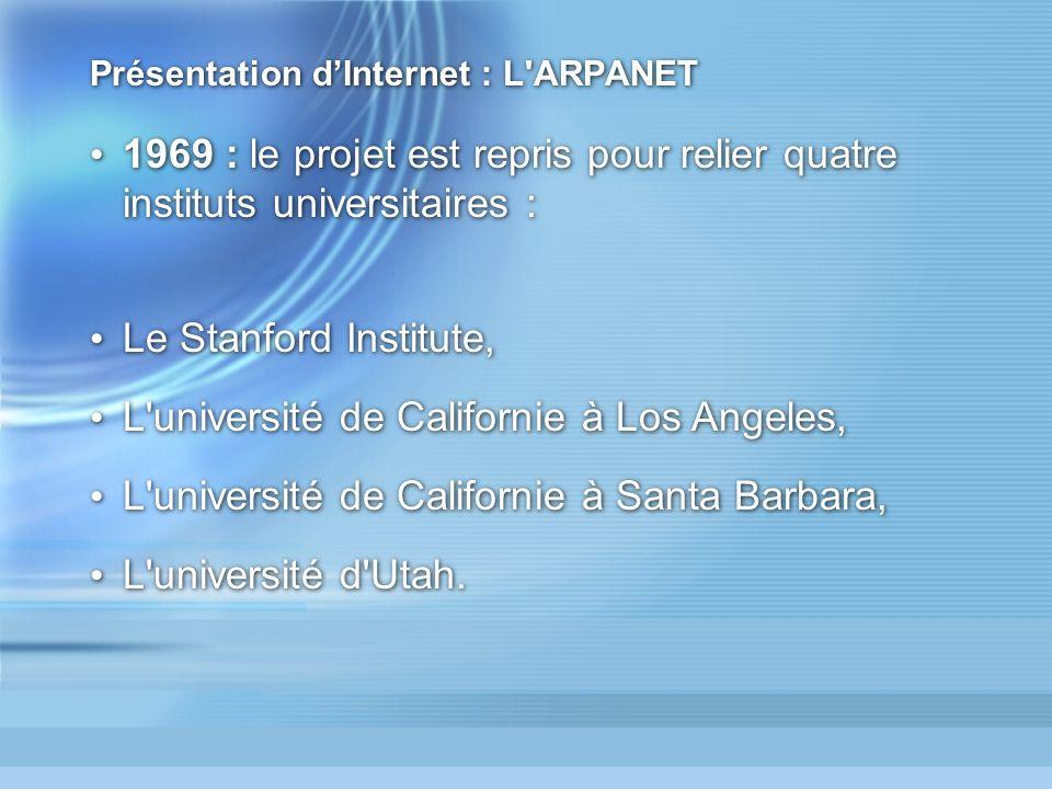 Présentation d'Internet : L ARPANET