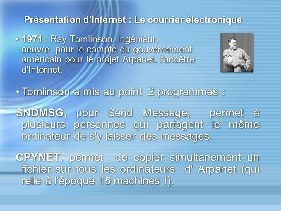 Présentation d'Internet : Le courrier électronique
