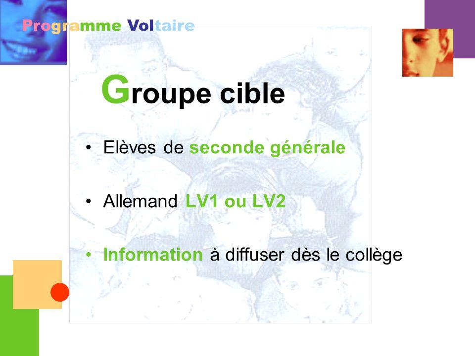 Groupe cible Elèves de seconde générale Allemand LV1 ou LV2