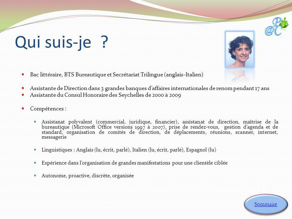 Qui suis-je Bac littéraire, BTS Bureautique et Secrétariat Trilingue (anglais-Italien)