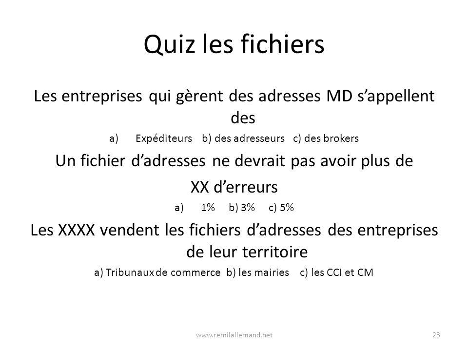 Quiz les fichiers Les entreprises qui gèrent des adresses MD s'appellent des. Expéditeurs b) des adresseurs c) des brokers.