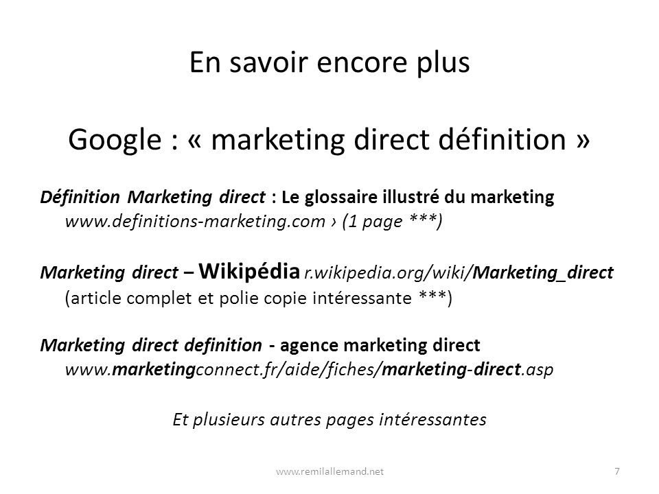 Google : « marketing direct définition »